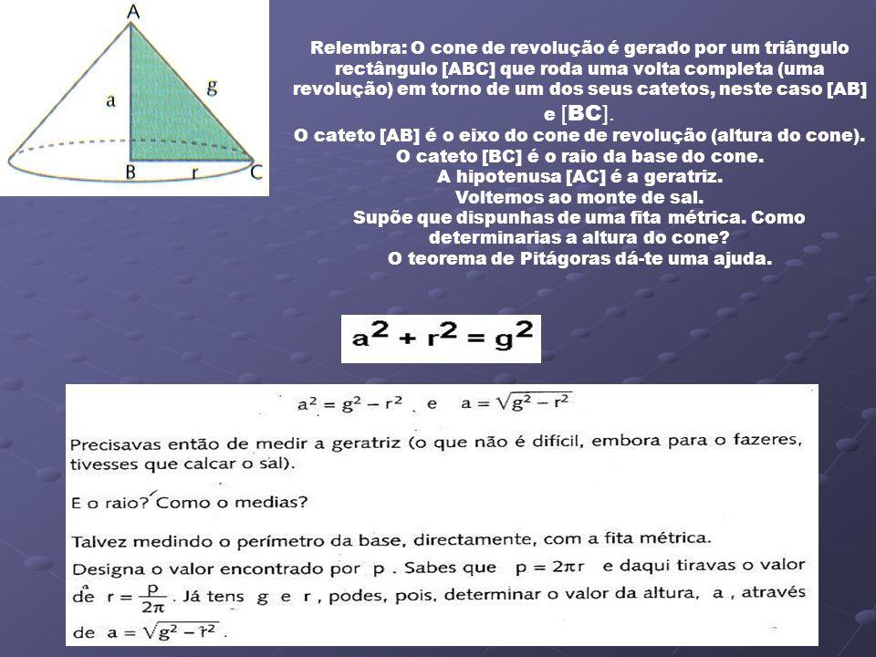 O cateto [AB] é o eixo do cone de revolução (altura do cone).